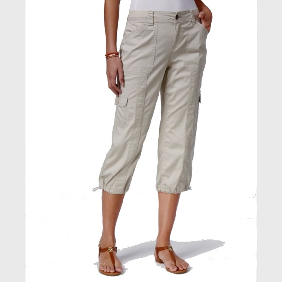 Style Co Plus Size Capri Cargo Pants Misty Harbor 18W